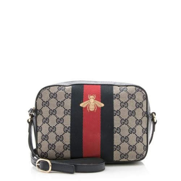 Gucci Bee Web Camera Gg Canvas Crossbody Bag